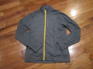 LULULEMON mens jacket in grey size small with yellow full zip