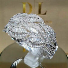 925 Silver White Sapphire Ring Gif Elegant Noble Princess Wedding Luxury Jewelry