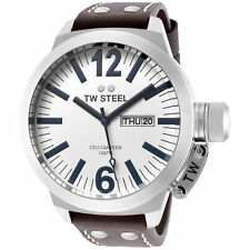 TW Steel CE1006 Men's Canteen 50mm Stainless Steel White Dial Leather Watch