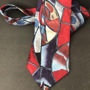 Etienne Aigner Men's Tie Red Blue Geometric Pattern Necktie