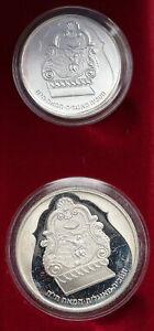 1987 ISRAEL English 1800 Jewish Hanukkah Lamp Silver Shekels SET 2 Coins i86972
