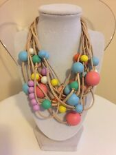 NWOT Multi Color Rainbow Wood Bead Statement Necklace Anthropologie