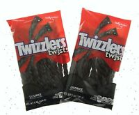 Twizzlers Black Licorice Twists 5oz American Candy Chewy Sweets ~ Lot of 2