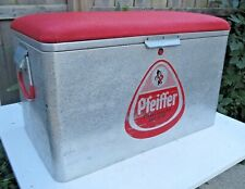 Vintage Pfeiffer Beer Cronstroms Aluminum Cooler Ice Chest Padded Seat Rare