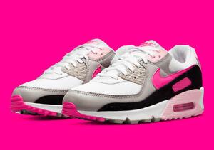 Nike Women's Air Max 90 Shoes White Hyper Pink Black DM3051-100 Multi Size NEW