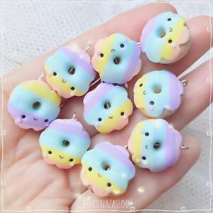 Rainbow Donuts Patel Charms ~ Cute Ciondolo Fimo Polymer Clay Kawaii Handmade