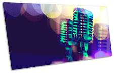 Microphone Music Singer Print PANORAMIC CANVAS WALL ART Picture Purple