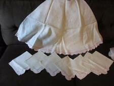 White Linen Round Table Cloth Embroidered Pink Dots & Decorative Hem + 7 Napkins