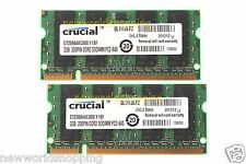 Crucial 4GB 2X 2GB PC2-6400 DDR2 800Mhz 200pin SoDimm Laptop Memory Notebook RAM