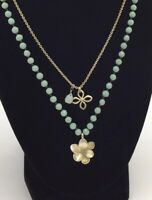 FOSSIL Jade Beaded Double Necklace Floral Silver Toned