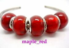 Fashion Pure Red Foil European Style Lampwork Glass Beads fit Charm Bracelet