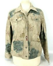 Chico's Floral Glitter Tan Denim Jean Jacket Womens Size 1 (Medium / 8)