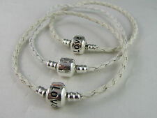 21cm WHITE BRAIDED LEATHER 925 SILVER CLIP CHAINS EUROPEAN STYLE CHARM BRACELETS
