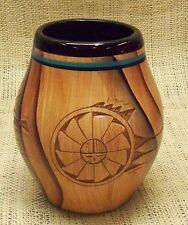Native American Dwayne Blackhorse Handmade Pottery Brushy Basin Jar Sun Face