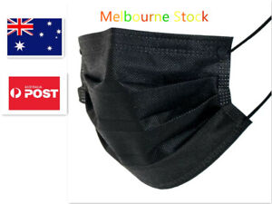 50 PCS 3 layer Black Disposable Face Mask Masks Protective Mouth Fashion AU