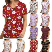 Women Short Sleeve V-neck Top Working Nursing Uniform Scrubs Animal Print Blouse