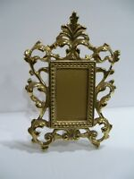 ANTIQUE ORNATE GOLD GILT HEAVY METAL STANDING PICTURE FRAME GLASS