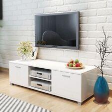Mobile Porta TV Mensole Laccato Lucido MDF 140x40,3x34,7 cm Bianco K8K4