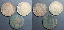 Lot de 3 x 2 centimes Napoléon III