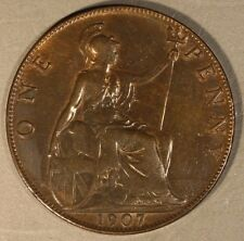 1907 Great Britain Penny High Grade         ** Free U.S. Shipping **
