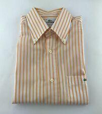 Luxurious* Lacoste Orange Striped Short Sleeve Button Front Dress Shirt 40/M