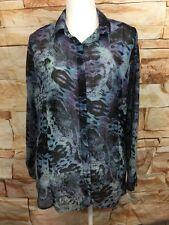 CAbi 609 Sheer Python Print Blouse Womens XL Blue Purple Button Down Shirt