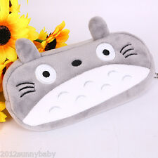 1Pc Gray Cute Big face Cat Plush Cartoon Cloth Makeup Zipper Bag Pen Pencil Case