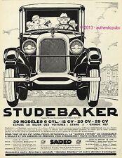 PUBLICITE AUTOMOBILE STUDEBAKER AU SALON ART DECO SIGNE COULON DE 1926 AD RARE
