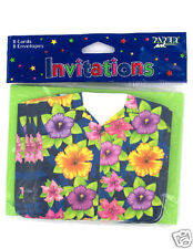 16 Blue Hawaiian Shirt Luau Invitations - Tiki Party Flower Card Invites