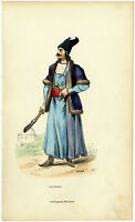 C. 1850, Antique wood engraving in contemp. coloring, a Persian