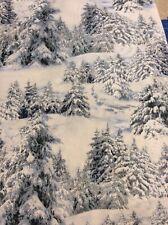 Christmas Fabric - Snowy Fir Trees, Digitally Printed Fabric By Elizabeth Studio