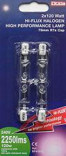 Halogen security flood light floodlight bulb 78mm 120w (150w)  R7s cap pack 2