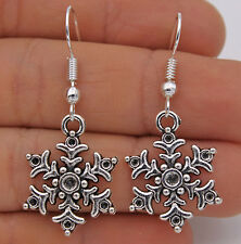 925 Silver Plated Hook -1.6'' Vintage Snowflake Winter Prom Women Earrings#61