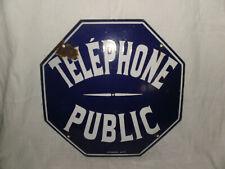 """plaque émaillée octogonale """"téléphone public"""", par vitracier Japy"""