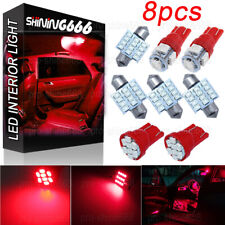 8X Red LED Bulb License Interior Package Kit W5W T10 30mm 31mm Festoon Lights
