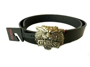 New Guess belt Lion Head Black 11GO02X007 Silver Buckle $40.00
