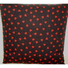 """16"""" Cushion Cover Black and Red Hearts 16x16"""