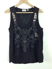 SUSSAN Sz 12 Embellished Front Black Tank Sleeveless Top