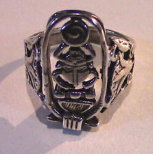 Egyptian Solid Sterling Silver Scarab Cartouche Amuletic Ring New size 8