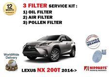 für Lexus NX 200T 2.0 8arfts 2014> NEU ÖL LUFT POLLEN 3 Filter Service Kit