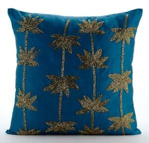 Designer Teal Blue Pillow 16x16 inch, Taffeta Lotus Beaded - Gold Lotus Dreams