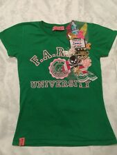 New Green University Logo T Shirt with Skull and Patches size Small