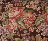 Floral Print BTY Cranston Pink Purple Flowers on Brown Background