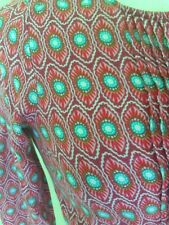 Psychedelic Hippy funky Pink Turquoise Pintuck Geometric Skater Dress XS 6/8