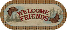 """20X44 """"Welcome Friends"""" Pine Cone Oval Cabin Lodge Accent Rug Mat Washable Blue"""