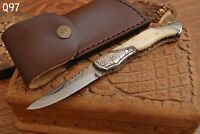 HAND FORGED DAMASCUS STEEL FOLDING POCKET KNIFE WITH BONE HANDLE - AJ 848