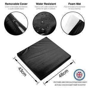 Outdoor Cushions Rattan Garden Chair Seat Cushion Pads Replacement Pads - BLACK