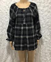 Women's GAP long Sleeve Top maternity plaid Blouse size M black, front keyhole