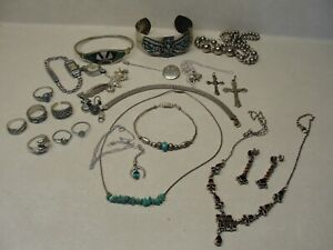 VINTAGE STERLING SILVER JEWELRY LOT,TURQUOISE,GARNETS,RINGS,BRACELETS ETC.
