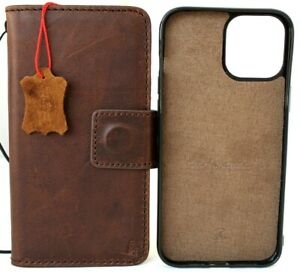 Genuine Real Leather Case Fo Apple iPhone 13 Pro Max Wallet Cover Removable Book
